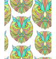 Seamless pattern with bright sketch owl in boho vector image vector image