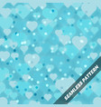 seamless pattern with shiny hearts on blue vector image