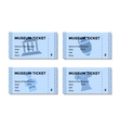 Set of blue tickets to the museum with a picture vector image vector image