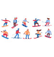 skier and snowboarder cartoon people in winter vector image