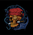 skull pirate anchor vector image vector image