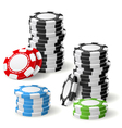 stacks gambling chips with leaning and pile vector image vector image