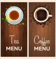 tea and coffee menu wooden background vector image