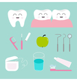 Tooth icon set Toothpaste toothbrush dental tools vector image vector image