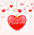 valentine hanging heart with i love you vector image vector image