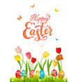 white bright blue easter card vector image