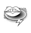 woman mouth with speech bubble pop art style vector image
