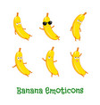 banana smiles cute cartoon emoticons emoji icons vector image vector image