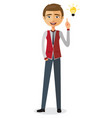 businessman happy with his bright idea business vector image
