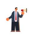 businessman holding megaphone loudspeaker business vector image vector image