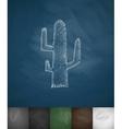 cactus icon Hand drawn vector image
