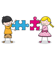 Child with puzzle pieces vector image vector image