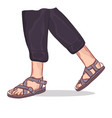 closeup man feet wearing black sandals with string vector image vector image