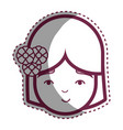 contour beauty face girl with flowers in the head vector image