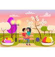 couple in love sits on bench in park vector image vector image