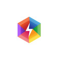 creative flash colorful hexagon lightning logo vector image vector image