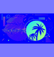 cyberpunk bright blue background with palm trees vector image