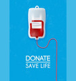 donate blood bag on blue background 3d vector image