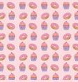 donuts and cupcakes kawaii characters pattern vector image