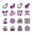 eggplant icon set vector image vector image