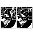 electric guitar and brick wall background vector image vector image