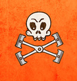 Engine Pistons with Skull Cartoon vector image