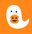 flying ghost spirit holding pumpkin boo happy vector image