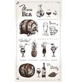 hand drawn alcoholic beverages retro menu design vector image vector image
