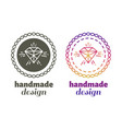 hand made design labels - hand craft emblems vector image