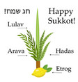 happy sukkot set educational icons with vector image vector image