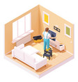 isometric man at tv installation vector image vector image
