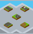 isometric road set of upwards rotation repairs vector image vector image