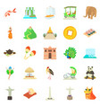 journey icons set cartoon style vector image vector image