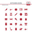 kitchen icons set red vector image