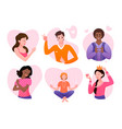 love and care yourself cartoon avatars collection vector image vector image