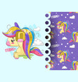 lovely unicorn listening music with pattern vector image vector image