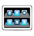Macro blue app icons vector image vector image