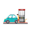 man filling up fuel into the car at the gas pump vector image vector image