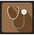 Medical stethoscope icon flat style