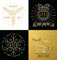 Merry christmas outline gold set bauble deer holly vector image vector image