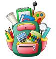 school bag with school supplies vector image