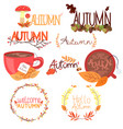 set of colorful autumn stickers with leaves and vector image vector image