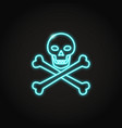 skull and crossbones icon in glowing neon style vector image
