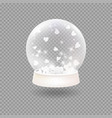 snow globe with falling paper hearts vector image vector image
