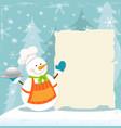 snowmans winter recipe vector image vector image