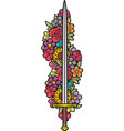 sword and flowers color vector image