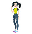 teenager girl with black hair character vector image vector image