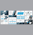 templates of white-blue slides for presentation vector image