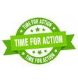 time for action ribbon time for action round vector image vector image