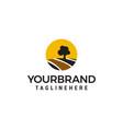 tree sun road logo design concept template vector image vector image